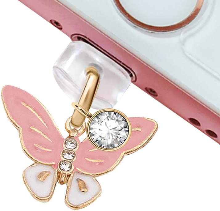CP44 USB Charging Port Anti Dust Plug Cute Little Purple Butterfly Pendant Phone Charm for iPhone 11// XS MAX//XR//X//8 Plus//7//6S//8//SE iPad iPod