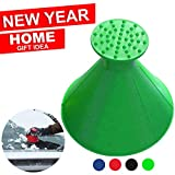 Magic Scrape A Round Ice Scraper Car Windshield Snow Scraper Cone Shaped Windshield Snow Funnel Shovel Tool Will Scrape Pesky Frost and Ice from Windscreens and Side Windows with Ease (Green)