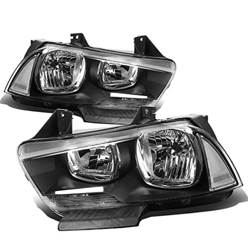 For Dodge Charger LX Pair of Black Housing Clear Corner OE Style Replacement Headlight (2013 Dodge Charger Srt8 Super Bee Specs)