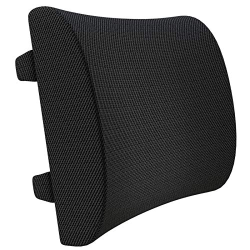 Everlasting Comfort 100% Pure Memory Foam Back Cushion - Orthopedic Design for Lower Back Pain Relief - Lumbar Support Pillow, 2 Adjustable Straps for Car or Office/Computer Chair