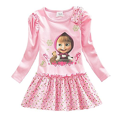 Kids Girls Cartoon Dress Masha and The Bear Halloween Costumes Dress (Pink, 2-3T) ()