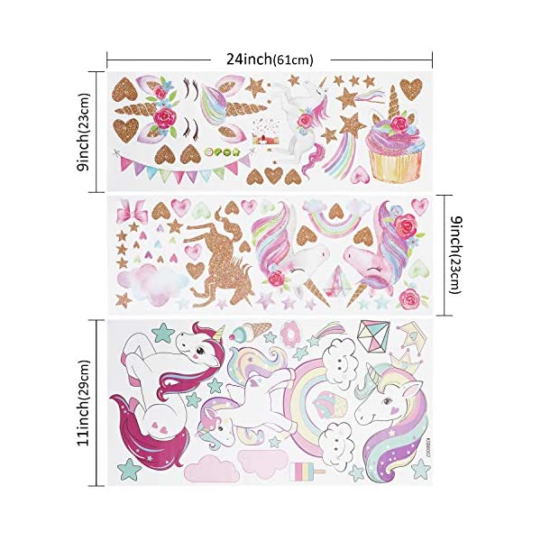 Unicorn Wall Decal, 3Sheets 2Styles 87pcs Unicorn Wall Stickers Wall Decals for Girls Room Kids Rooms Decor ... 4