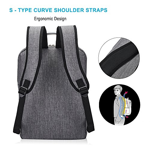 Business Laptop Backpack, Slim Durable College School Backpack for Men and Women, Lightweight Travel Computer Bag Fits under 15.6 inch Laptop and Notebook (Gray) by Covax (Image #1)