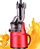 JIARUI Big Mouth Slow Masticating Juicer with Quite Motor Vertical Cold Press Juicer, Fruits & Vegetable Juice Extractor (240W AC Motor, 45RPM) (Red)