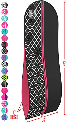 """Gusseted Gown Garment Bag for Women's Prom and Bridal Wedding Dresses - Travel Folding Loop, ID Window-72"""" x 24"""" with 10"""" Tapered Gusset - Black and Fuchsia - by Your (Gown Length Garment Bag)"""