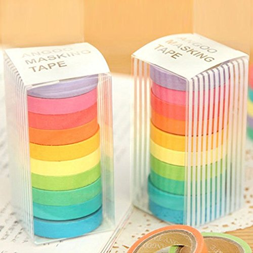 (10pcs Set of Colorful Decorative Washi Rainbow Sticky Paper Masking Adhesive Tape Diary Scrap booking DIY)