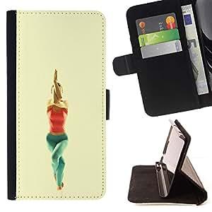 For Samsung Galaxy S6 Case , garudasana yoga poza- la tarjeta de Crédito Slots PU Funda de cuero Monedero caso cubierta de piel