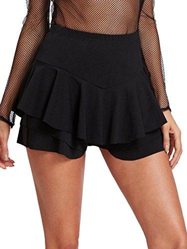 Pleated Flounce - WDIRARA Women's Mid Waist Flounce Pleated Shorts Ruffle Layered Basic Mini Skirt Black XS