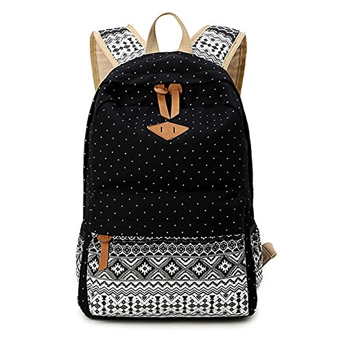 Gintan Exotic Style Canvas Polka-Dot Print Casual Daypack College Student Satchels, Black