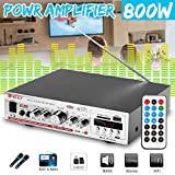 Relax4All - 800W 12V Car Amplificador Stereo Power Audio Amplifier FM Radio 2CH SD USB HIFI 220V Home Theater Amplifier No Support bluetooth