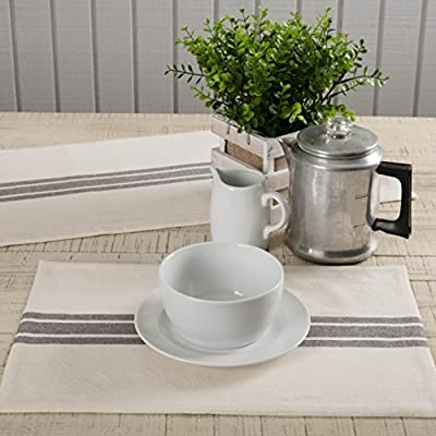 "Piper Classics Market Place Gray Grain Sack Stripe Placemats, Set of 4, 12"" x 18"", Farmhouse Style, Cream & Grey - A Piper Classics Original. Designed by and Available Exclusively from Piper Classics. Textured solid cream woven cotton fabric; Single charcoal grey grain sack stripe woven horizontally across center; Flannel lining; Turned edge seam; Reverses to solid cream cotton fabric, Machine wash GENTLE in cold water with like colors, gentle cycle, or hand wash to prevent shrinkage. No chlorine bleach. Lay Flat or Hang to Dry. Iron if needed. - placemats, kitchen-dining-room-table-linens, kitchen-dining-room - 51JKGevjNKL. SS400  -"