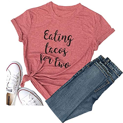 Eating Tacos Two Thankful Grateful Blessed Love Heart Thanksgiving Women Casual T-Shirt Short Sleeve Tops Tee (Medium, -
