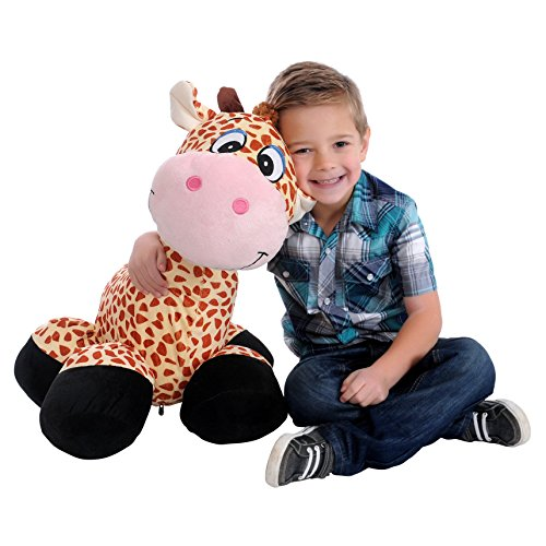 Collapse N' Carry AS SEEN ON TV Big Inflatable 26 Tall Plush Fuzzy Toy Giraffe