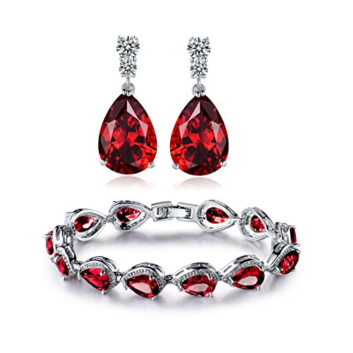 GULICX Women's Silver Jewelry Set Ruby-color Charm Tennis Bracelets Chains Drop Zirconia Earrings - Tennis Jewelry Set