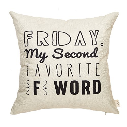 Funny Quotes - Fjfz Friday, My Second Favorite F Word Funny Quote Sign Cotton Linen Home Decorative Throw Pillow Case Cushion Cover with Words for Sofa Couch, 18