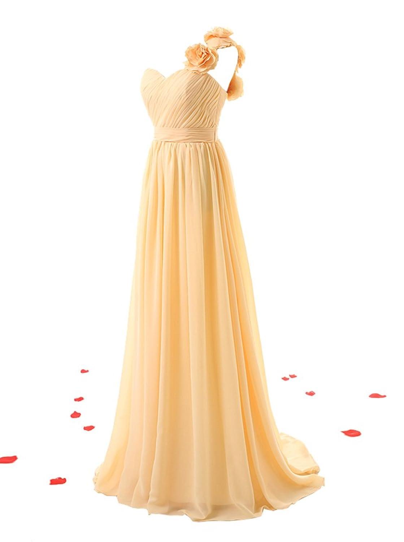 KekeHouse® Ein-Schulter Blumen A-Linie Maxi Brautjungkleid Mutter Tochter  Abendkleid Plissiert Partykleid Blumenmkleid: Amazon.de: Bekleidung