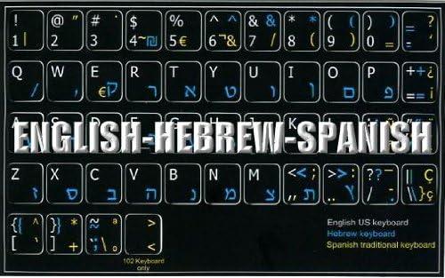 ENGLISH-HEBREW-SPANISH NON-TRANSPARENT KEYBOARD STICKER ON BLACK BACKGROUND