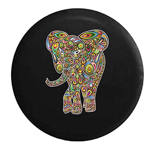 African Elephant Psycodelic Hippie Good Luck Jeep RV Spare Tire Cover Black 29 in