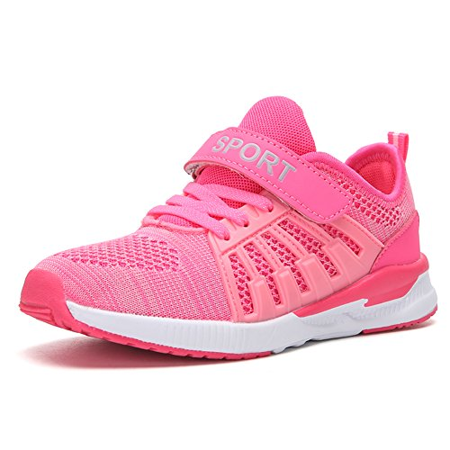 (Ukris Kids Lightweight Breathable Sneakers Easy Walk Casual Sport Shoes for Boys Girls(EU 30,F-Pink))