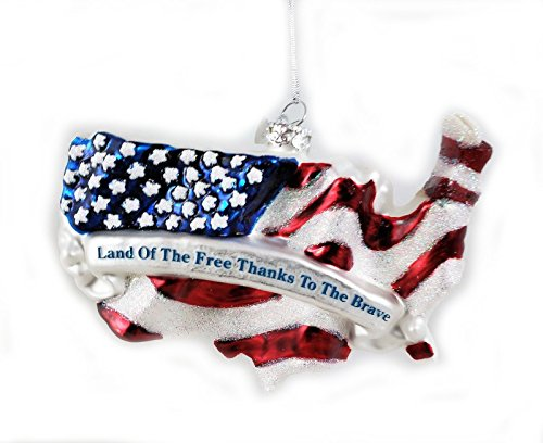 Noble Gems Land Of The Free America Flag Glass Ornament nb1377 Americana USA