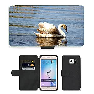 Hot Style Cell Phone Card Slot PU Leather Wallet Case // M00111919 Animal Bird Swan // Samsung Galaxy S6 (Not Fits S6 EDGE)