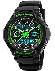 Kid Watch Multi Function Digital LED Sport Waterproof Electronic Quartz Watches for Child Boy Girls Gift Green