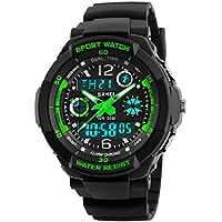 Viliysun Reloj analógico de cuarzo con LED digital, multifunción, deportivo, a prueba de agua hasta 50 M, para niños., Verde
