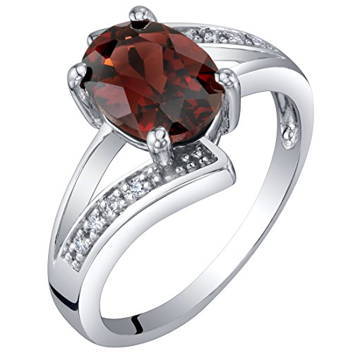 100 Soles Gold Gem - 14K White Gold Genuine Garnet and Diamond Solitaire Bypass Oval Ring 1.50 Carats Size 6