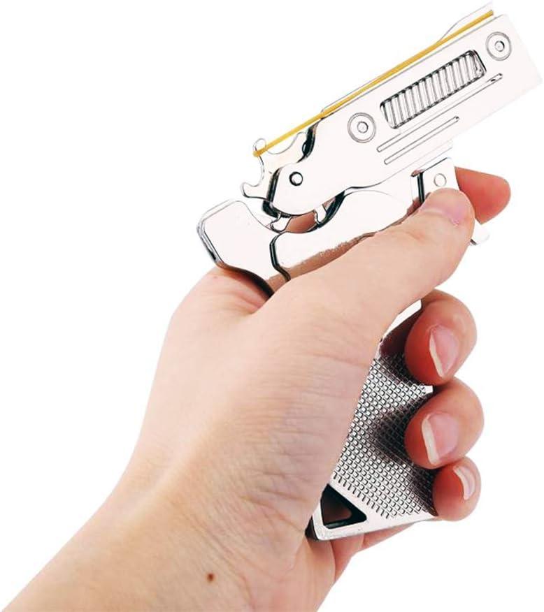 Zhou-long Pistola Plegable clásica de 6 ráfagas con Banda de Goma, Juguete de aleación de Zinc portátil semiautomático