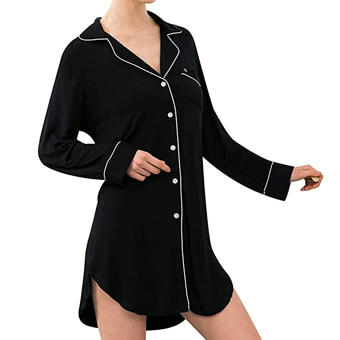 5a37f9927d07 Image Unavailable. Image not available for. Color  SSYUNO Women s Sexy  Loose Boyfriend Pajamas Long Sleeve Button Down Sleep Shirts Dress ...