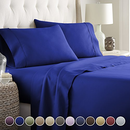 HC COLLECTION Hotel Luxury Bed Sheets Set TODAY! On Amazon Bedding 1800 Series Platinum Collection-100%!Deep Pocket,Wrinkle & Fade Resistant (CalKing,Royal Blue) - Angel In Your Pocket