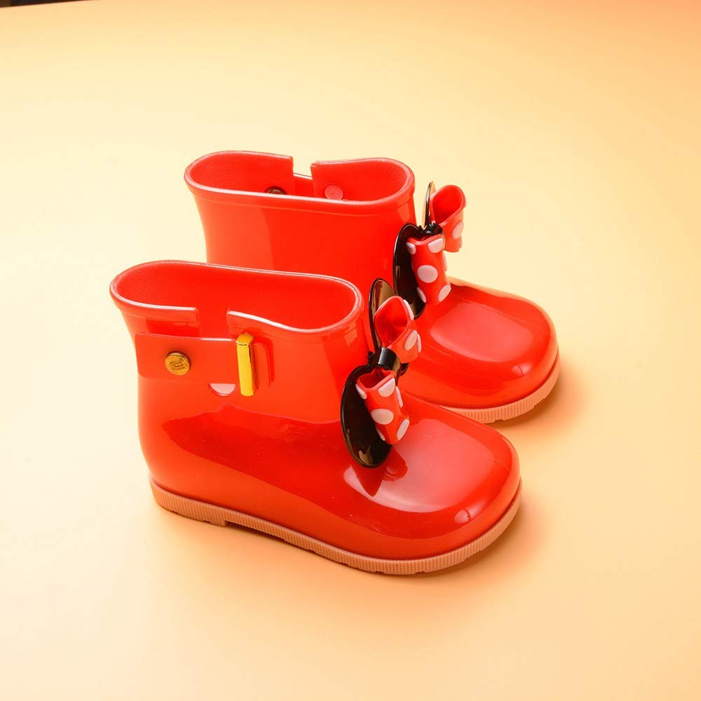 Unisex Baby wasserdichte Regenstiefel Zhen 1-7 Jahre Jungen M/ädchen Kurze Stiefel Bowknot wasserdichte Schuhe Freestyle rutschfest Regenstiefel