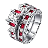 LILILEO Jewelry Double Layer Sets Of Red Corundum Zircon Mosaic Ring For Women's Rings