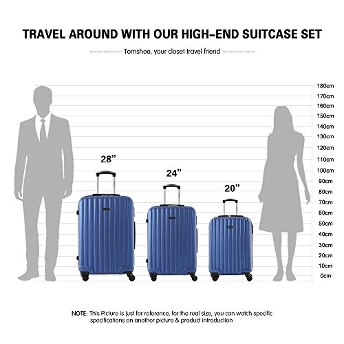TOMSHOO Fashion Luggage Set, Carry on Suitcase, ABS Trolley, Hard Shell Combination Lock 4 Wheel Spinner Set, Blue, 3 Piece by TOMSHOO (Image #6)