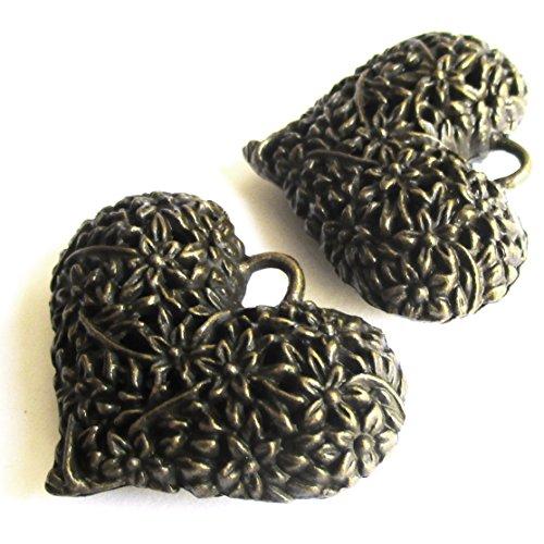 Heather's cf 5 Pieces Brass Tone Big Hollow Heart Beads DIY Charms Pendants 41X32X13mm