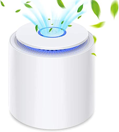 HAUEA Portable Air Purifier with True HEPA Filter, USB Powered Desktop Air Cleaner with Night Light