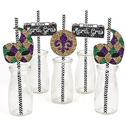 Mardi Gras- Paper Straw Decor-Masquerade Party Striped Decorative Straws - 24 ct