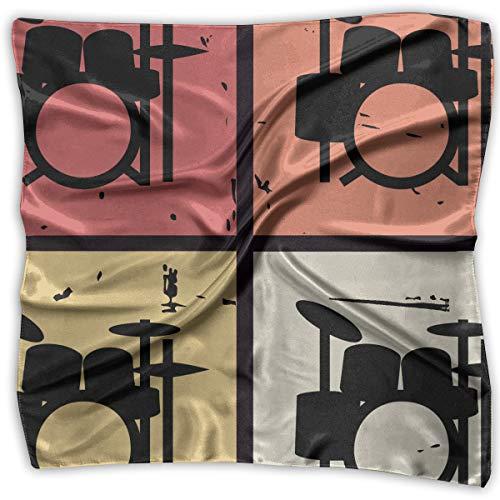- Retro Vintage Drum Kits Women's Large Square Satin Head Bandanas Silk Like Neck Scarves