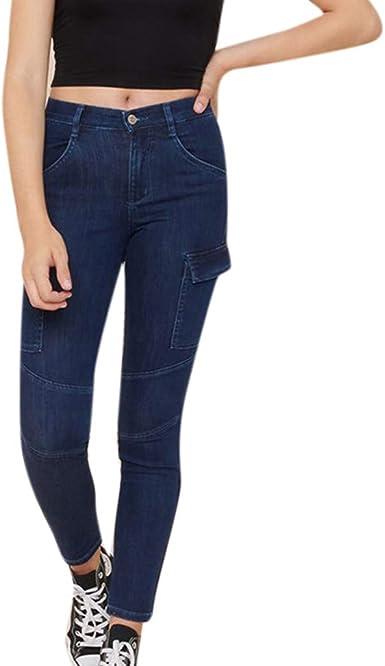 ZEZKT Vaqueros Pantalones elásticos para Mujer Slim fit ...