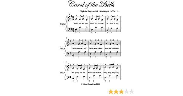 image relating to Carol of the Bells Free Printable Sheet Music named Carol of the Bells Very simple Notice Piano Sheet Songs