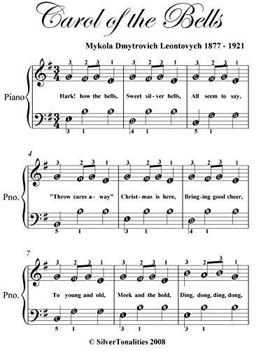 picture about Christmas Songs Piano Sheet Music Free Printable titled Carol of the Bells Uncomplicated Be aware Piano Sheet Audio