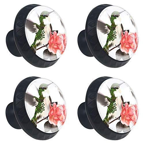 - Idealiy Floral Hummingbirds Drawer Knob Pull Handle Cupboard Knobs with Screws 4pcs