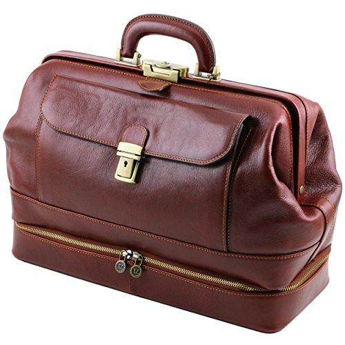 Toscana läder – Giotto – dubbelväggig elegant läderdoktorväska – brun