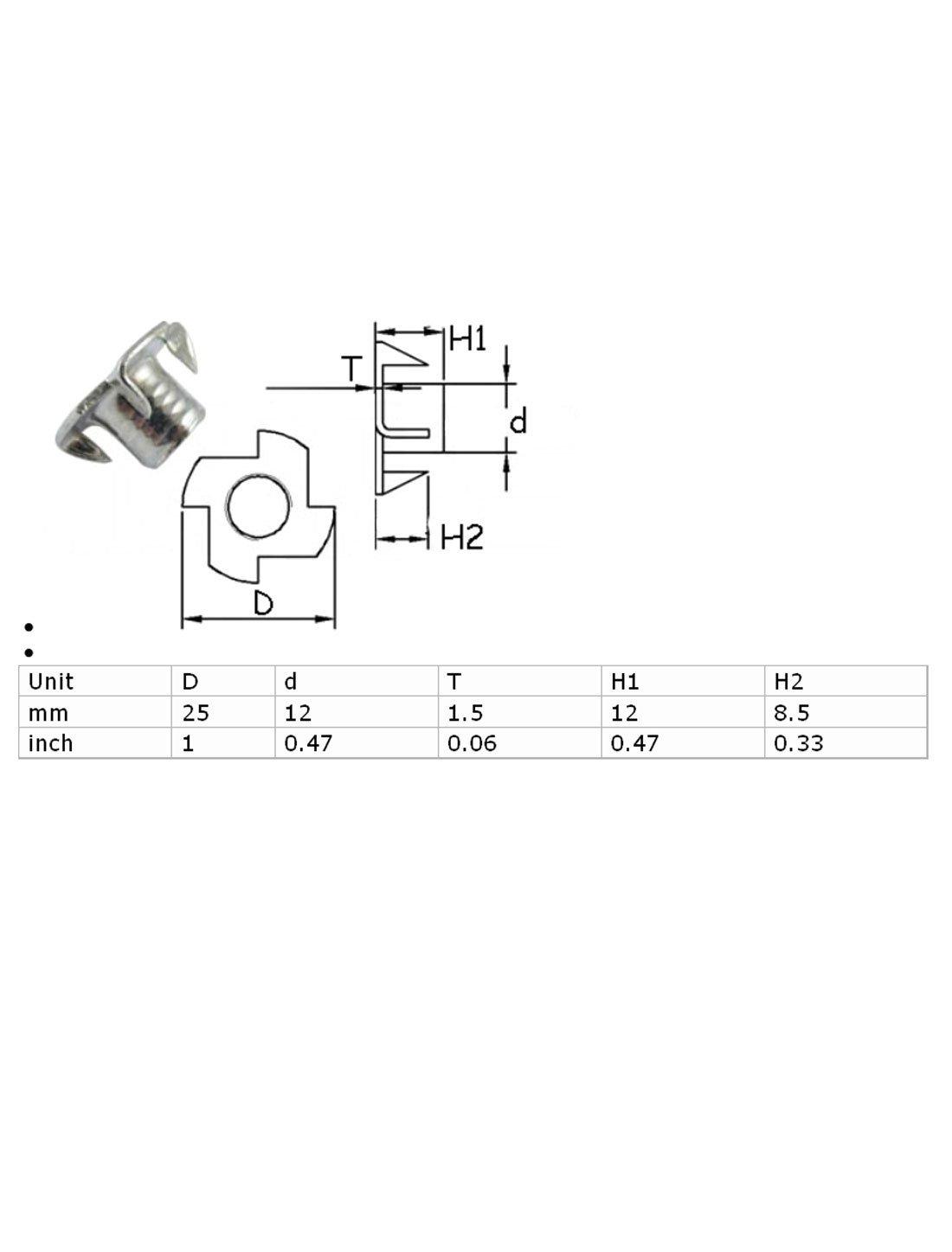Amazon.com: 20 PC 4 Prongs chapado en zinc T-Nut Tee Tuerca de fijación 3/8-16 x 7/16: Industrial & Scientific