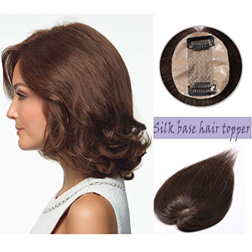 Silk Base Real Human Hair Topper for Women Top Hairpiece Clips in Crown Hand Made Toupee Replacement Extentions for Hair Loss Thinning Hair Cover Gray Hair #04 Medium Brown 10