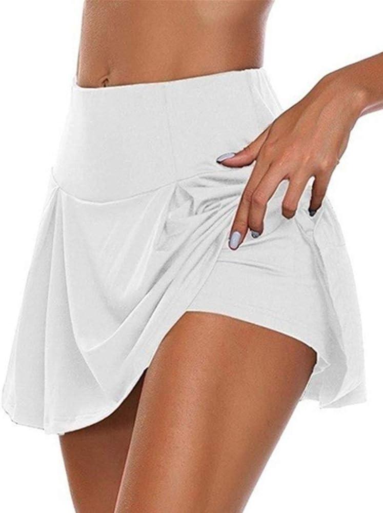 ZZQ/JK Deportes De Las Mujeres Falda Corta, 2 En 1 Deporte Falda Corta, El Deporte del Tenis Golf Falda, Falda De Funcionamiento Elástico De Las Mujeres