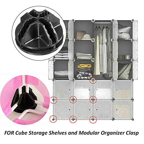 Glumes 20pcs Black Cube DIY Modular Closet Organizer Wardrobe Rack Clothes Shelf Storage Cabinet Buckle Connectors Wardrobe DIY Black Closet -