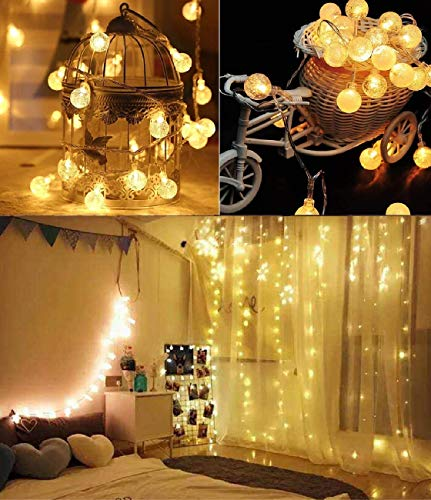 Mega-Loopolis Solar String Lights Outdoor, 40Ft 100 LED Waterproof Globe String Lights 8 Modes Indoor/Outdoor Fairy Crystal Ball Lights for Patio Yard Trees Christmas Wedding Party,Soft White Light