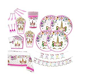 118pcs/set Pink Unicorn Theme Party Disposable Tableware Set Decoration Supplies Banner Hats mask Tablecloth Plates Bowouts Dcoration Paper for Children Kids Favor Birthday Decoration Props