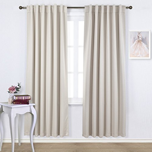 Nicetown - Set of Two (2) Thermal Insulated Light Reducing Back Tap / Rod Pocket Top Curtains / Drapes 52 by 95